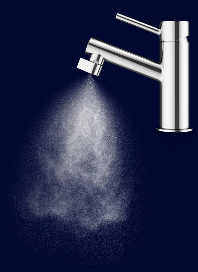 This faucet turns tap water into a fine mist & reduces water use by 98%