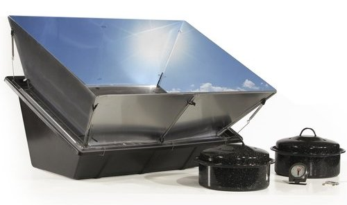 Solar cooker + mirror-finish reflector = high performance clean cooking