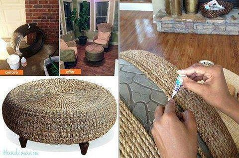Reclaim that old tire and turn into a trendy coffee table!